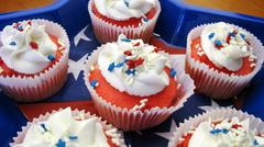 Red, white and blue cupcakes panorama shot Stock Photos