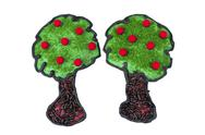 Two apple tree cookies Stock Photos