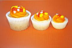Three Halloween holiday cupcakes - stock photo