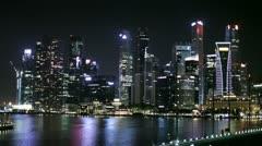 The Singapore skyline at night Stock Footage