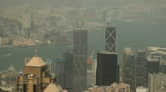 Smoggy Hong Kong harbor from Victoria peak Stock Footage