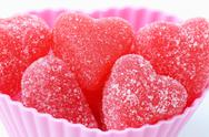 Stock Photo of Red jelly hearts candy