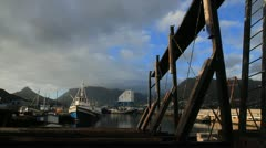 Wide shot of Hout Bay harbour,South Africa Stock Footage