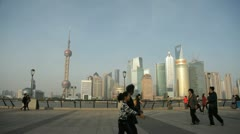 View of Shanghai Pudong from the Bund Stock Footage