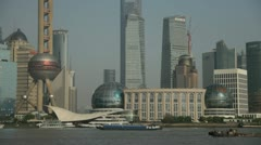 Shanghai's famous Pudong district and skyscrapers Stock Footage