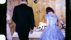 WEDDING Buffet Line Bride and Groom 1960 (Vintage Old Film Home Movie) 3296 Stock Footage