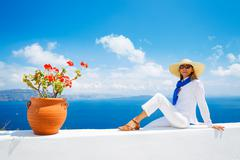 tourist relaxing on vacation - stock photo