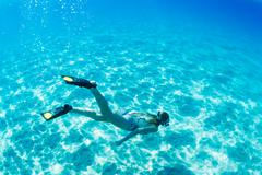 Stock Photo of woman snorkeling in tropical ocean