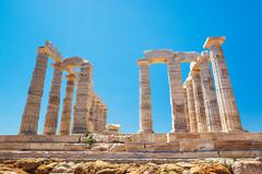Ancient temple greek ruins acropolis Stock Photos