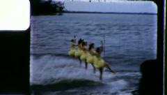 Girls on Skis ONE LEG STAND WATERSKI Skiers 1960s Vintage 8mm Film Home Movie Stock Footage