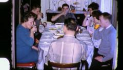 FAMILY Meal Reunion CHRISTMAS THANKSGIVING 1960s Vintage Film Home Movie 3339 Stock Footage