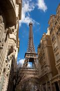 eiffel tower in street - stock photo