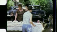Stock Video Footage of FAMILY PICNIC BBQ Classic Autos 1960s (Vintage Retro Film Home Movie) 3544