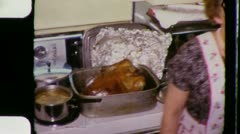Mom's Kitchen THANKSGIVING CHRISTMAS Dinner 1960s (Vintage Film Home Movie) 3347 - stock footage