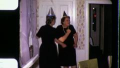 OLD PEOPLE Dance Party Grandma Grandfather 1960s Vintage Film Home Movie 3352 Stock Footage