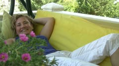 Relaxed women smiling to camera Stock Footage