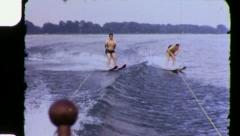 Men WATER Ski SKIERS SLOW MOTION Waterski 1960s Vintage Film Home Movie 3364 Stock Footage