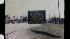South Carolina STATE LINE SIGN Border Travel 1950s Vintage Film Home Movie 3391 Stock Footage