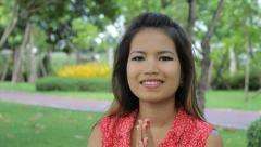 Attractive Asian Girl Doing A Thai Greeting Stock Footage
