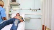 Nurse next to transfused patients Stock Footage