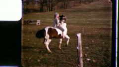 Girl Rides Prancing Pony Horse Riding 1960s Vintage Retro Film Home Movie 3403 Stock Footage