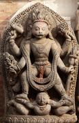 hindu god vishnu sculpture - stock photo