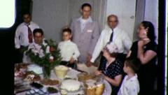 AMERICAN Gathered at Table FAMILY REUNION 1960s Vintage  Film Home Movie 3408 Stock Footage