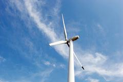 Wind turbines on hight sky Stock Photos
