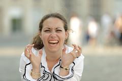 business woman rage - stock photo