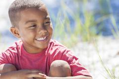 african american boy child happy smiling outside - stock photo