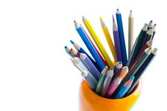 color crayons on the white background - stock photo