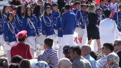 School children parade zoom out Stock Footage