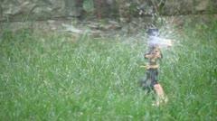 Sprinklers in the garden Stock Footage