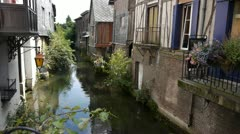 Old street in Pont Audemer France Stock Footage