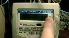 Check of operating modes of the electric counter Stock Footage