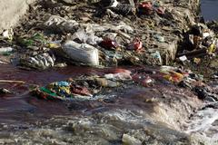 Pollution in river Stock Photos