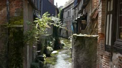 Small old street in Pont Audemer France Stock Footage