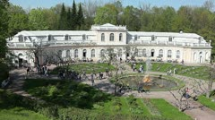 Orangery fountain and large palace in Petergof, Russia Stock Footage