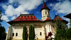 Holy monasteries in Bucovina, Romania heritage, Saint John the New time-lapse Stock Footage