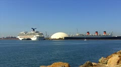 Modern Cruise Ship With Queen Mary Ocean Liner - stock footage