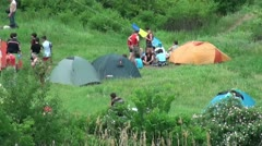 The tent camp on the banks of the River Stock Footage