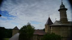 Holy monasteries in Bucovina, Romania heritage,Dragomirna time-lapse Stock Footage
