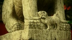 Temple stone lion,Historical monuments. Stock Footage