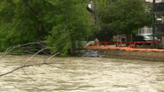 Weather, near flood on river pan apartment Stock Footage