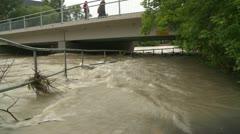 Weather, near flood on river bridge wide shot, #2 Stock Footage