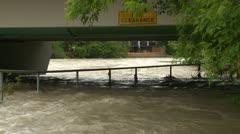 Weather, near flood on river bridge medium shot Stock Footage