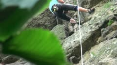 The slow descent of the cliff Stock Footage