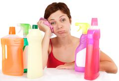 bored cleaning woman portrait - stock photo