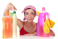 woman and cleaning supplies - stock photo