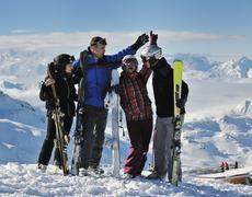 People group on snow at winter season Stock Photos